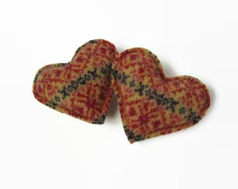 Rice Hand Warmers // Recycled Wool Fair Isle Pocket Hand Warmer // Heart Hand Warmer