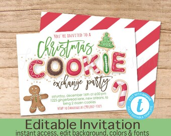 Christmas Cookie Exchange Party Invitation Editable Christmas