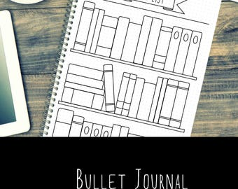 Bullet Journal - Bookshelf - Books - Reading - Printable - Template - A5 - A4 - US letter
