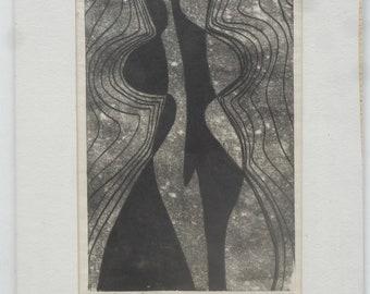 Original 1960s monotype by midcentury abstract artist Jane Mitchell