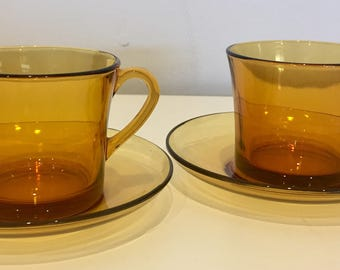 Funky Vintage Duralex Amber Glass Cup and Saucer