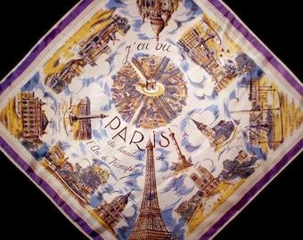 Vintage 50s Paris Landmarks Souvenir Scarf