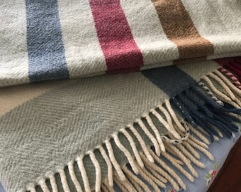 Small lambswool throw muted shades