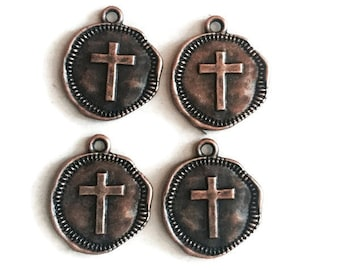 Stamped Cross copper plated jewelry charms