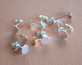 10pcs 6mm Earring  Finding Sterling Silver Earpost Earstud Flat  Pad Silver