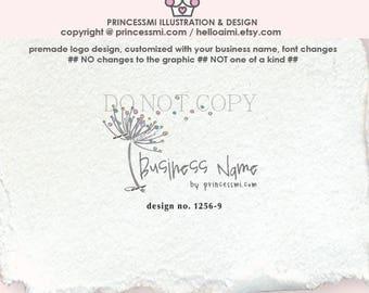 1256-9  floral logo, dandelion logo, logo branding,  boutique logo, business branding, business logo design, watermark, photography branding