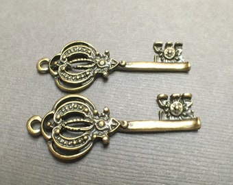 Antique Brass Vintage Style Key Charm. Brass Key Findings. Victorian Charms. Romantic. 16mm x 41mm. Two (One Pair).