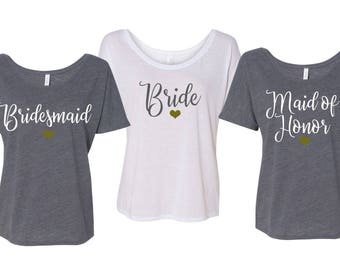 Bridesmaid Shirts, Flowy Shirts, Wedding Party Tshirt, Bachelorette Party, Maid Of Honor Shirt, Off the shoulder shirt, Flowy Tshirt
