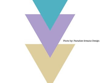 Triangle Geometric Wall art, Download,printable,gift,bright,modern,symmetrical,blue,purple,yellow,tan,picture,design,pastel,simple,D-00009