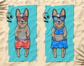 "Blue heeler australian cattle dog Beach Towel - Cute Blue Heeler Gift - 30"" x 60"" or 36"" x 72"" - Boy or Girl Sunbathing cattle dog"