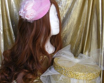 Pink pillbox style hat/fascinator