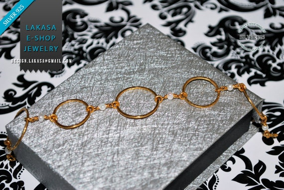 Handmade Chain Circles Bracelet Sterling Silver 925 Gold-plated with Freshwater Pearls Best Gift Ideas for her Birthday Anniversary Woman