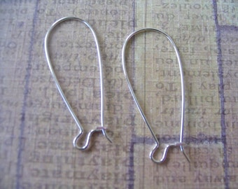 24pc Kidney Earwire...Sterling Silver Plated...Size 35x15mm. Earring Hooks, Earring Findings.