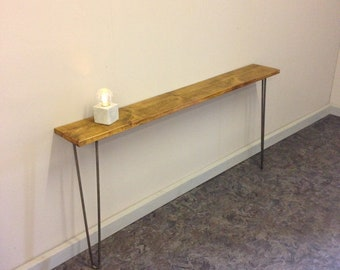 Narrow Rustic Console Table With Hairpin Legs Rustic Entryway Table - Mid Century - Nightstand - Side Table