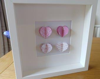 Personalised Paper Art Shadowbox - Hearts,  Wedding, Anniversary, Birthday Gift