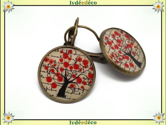 Tree of life Stud Earrings poppy red black beige flower resin brass resin bronze mothers birthday gift