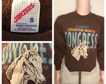 Vintage 1997 All american quarter horse congress sweatshirt // made in usa // adult size small // horse show // browns crewneck //