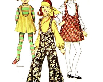 Simplicity 8379 Girl Size 10 Hippy Mod Jumpsuit Jumper Pant Jumper VINTAGE 1960s circa 1969
