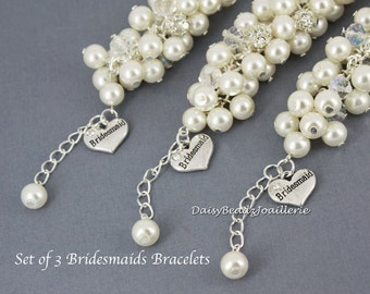 Set of 3 Ivory Cluster Bracelet Ivory Pearl Bracelet Ivory Bracelet Bridesmaid Bracelet Bridesmaid Gift Ivory Chunky