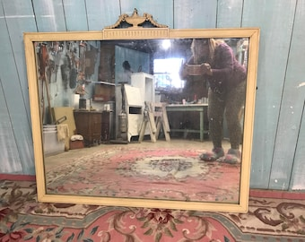 large antique mirror original ivory finish