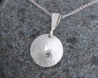 Round Silver Pendant, Hammered Sterling Silver Domed Pendant, Round Sterling Silver Necklace Hammered Necklace, Silver Pendant Gift for Her