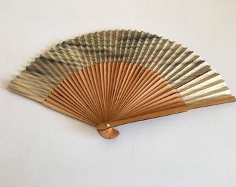 Vintage Japanese Paper Bamboo Fan