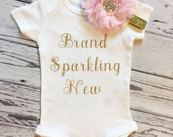 Newborn Baby Girl Brand Sparkling New Outfit, Newborn Baby Girl Bodysuit, Pink Girl Coming Home Outfit, Brand Sparkling New, Baby Girl