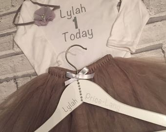Baby girls personalised christening / baptism birthday tutu dress gift keepsake