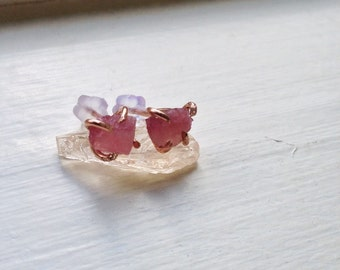 Pink Tourmaline Stud Earrings, 100% Rose Gold Filled - Mother's Day Gift - Recycled, Upcycled, Sustainable - Portion Goes to Animal Charity