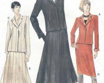 90s Womens Fly Front Jacket Below Waist or Hip Length and Straight or Flared Skirt Vogue Sewing Pattern 7152 Size 8 10 12 Bust 31 1/2 to 34