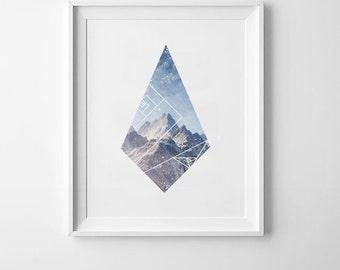Geometric Polygon Printable Poster | Geometric Wall Art, Startup Poster,Office Poster, Printable Mocha + Coco, Instant PRINT FILE DOWNLOAD