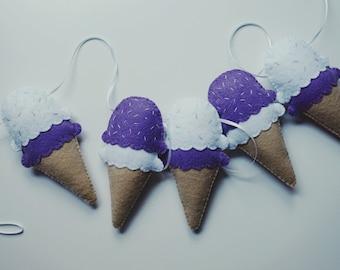 Icecream Garland - icecream nursery garland handmade using felt, with hand sewn sprinkle detail