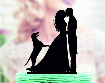 Wedding cake topper with dog Labrador  , Couple with Dog Labrador Cake Topper , silhouette dog Labrador cake topper for wedding