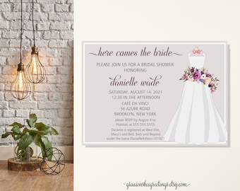 Wedding Bridal Shower Invitation, Wedding Dress Shower Invitation, Here Comes the Bride, Modern Bridal, Pastel Mauve, Printable