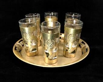 Silver Shot Glass Set with Matching Pierced Rim Tray, Vintage Alpaca Silver, Barware Serving Set