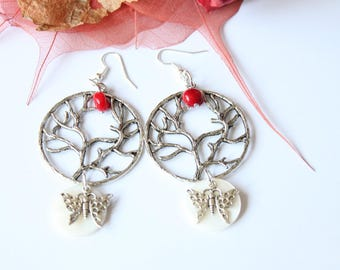 Red coral earring, mother of Pearl and silver plated