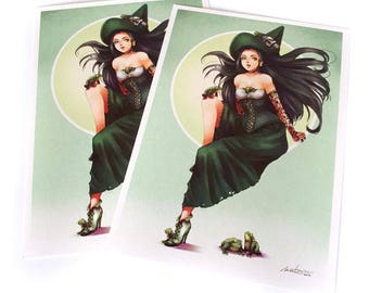 Postcard - Green witch