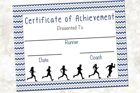 cross country certificate jog a thon award running