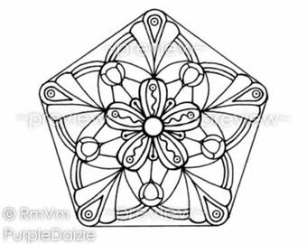 Printable Coloring Page Mandala Coloring Zen Doodle Large JPEG File Art Drawing ZenDoodle - Instant Download