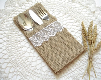 Set of 50 - Burlap Silverware Holder wish white lace - Table Decor - Rustic Wedding - Wedding Table - Table Setting & Set of 200 Burlap Silverware Holder wish white lace and bow