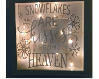 Light up box frame - snowflakes are kisses from heaven