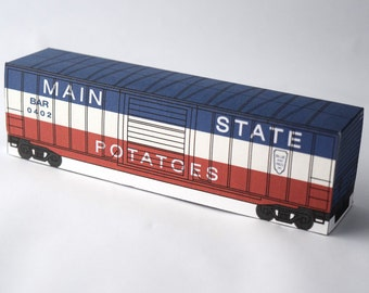 """Boxcar Paper Craft Activity """"B&R"""" ; model train kids party project simple fun diy kit for boys red blue easy thing to do paper toy"""