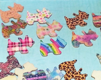 SCOTTY DOG BUTTONS,Novelty Buttons,Painted Buttons,Craft Buttons,Craft Supply,Scrapbook Supply,Wood Crafts,Sewing Buttons,Sewing Notions