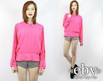 Hot Pink Blouse Longsleeve Blouse Pleated Shirt Pink Shirt Vintage 80s Hot Pink Pleated Blouse M L