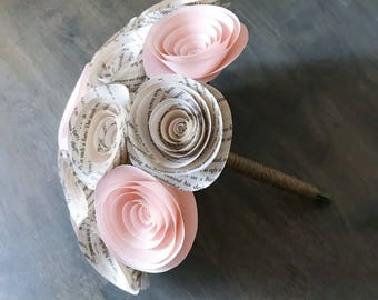 Paper Flower Bouquet - Wedding Bouquet Alternative - Wedding Bouquet - Paper Bridal Bouquet - Paper Flowers - Book Page - Blush Pink Flowers