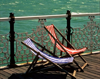 Brighton Pier Chairs 8x12 Fine Art Print, England