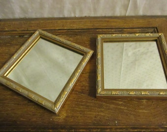 Mirror Small Square Gold Grape Pattern set of 2 Hollywood Regency