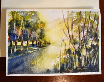 River Landscape Original Watercolor painting card A6