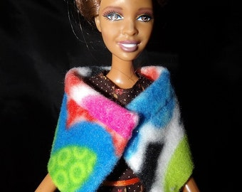 Fashion Doll Coordinates - Short colorful printed Fleece wrap cape - es358