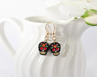 Multicolor Red and Orange Hand-Painted Black Sugar Skull Drop Earring